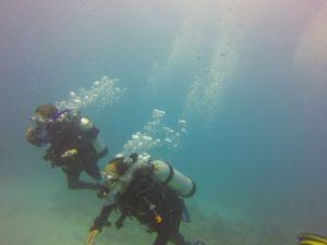 Louisa & Leticia walking along 10 meters deep!